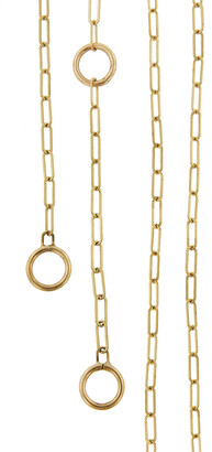 Marla Aaron Yellow Gold 3 Loop Square Link Chain Necklace