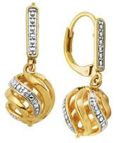 Prime Art & Jewel 18k Yellow Gold Plated Bronze Diamond Accent Lever Back Earrings