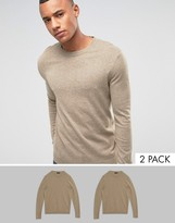 Asos 2 Pack Cotton Jumper In Oatmeal Save