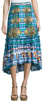 Peter Pilotto Embroidered Cotton Midi Skirt, Blue