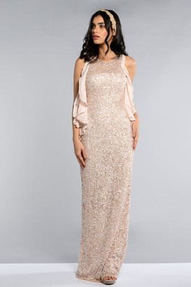 Gatsbylady London Manhattan Maxi Dress in Nude
