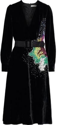 Mary Katrantzou Theresa Belted Embellished Velvet Dress