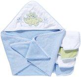 SpaSilk 100% Cotton Hooded Terry Bath Towel + 4 Washcloths Set - Blue Dinosaur