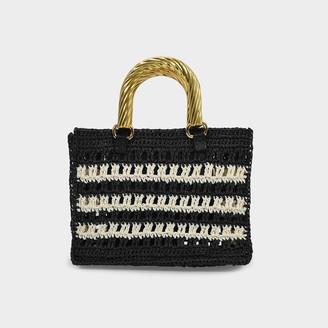 MEHRY MU Lucia Mini Bag In Black And Cream Raffia