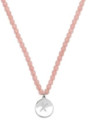Kiss Charm Bead Necklace Rose Quartz