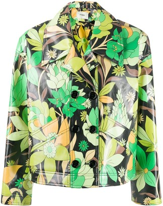 Fendi Floral Print Cropped Jacket