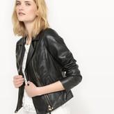 La Redoute Collections Leather Zip-Up Biker Jacket