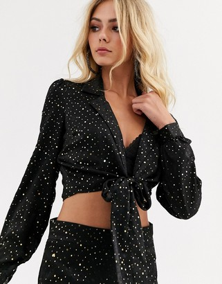 Wild Honey tie front satin shirt in celestial co-ord