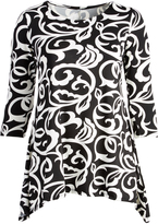 Glam Black & White Botanical Sidetail Tunic - Plus