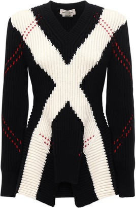 Alexander McQueen Intarsia Wool & Cashmere Knit Sweater