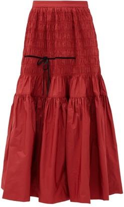 Molly Goddard Donnika Shirred High-rise Taffeta Skirt - Red