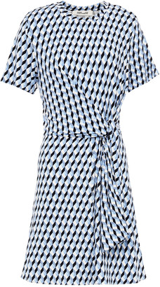 Diane von Furstenberg Knotted Printed Stretch-jersey Mini Dress