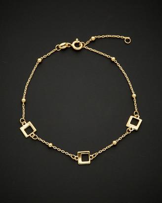 Italian Gold 14K Square & Bead Station Adjustable Length Bracelet