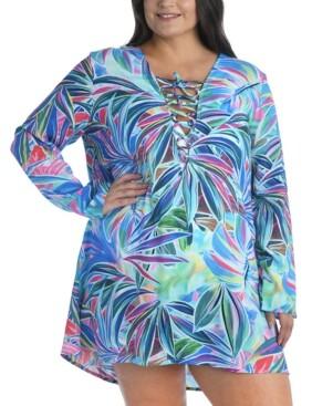 La Blanca Plus Size Palm Lace-Up Tunic Cover-Up Women's Swimsuit