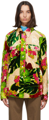 Dries Van Noten Green Floral Quilted Jacket
