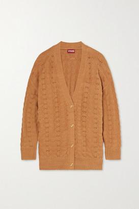 STAUD Blake Pointelle-knit Cotton-blend Cardigan - Camel