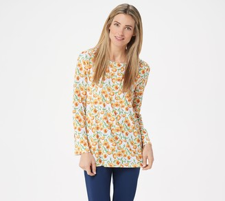 BROOKE SHIELDS Timeless Scoop-Neck Printed Knit Top
