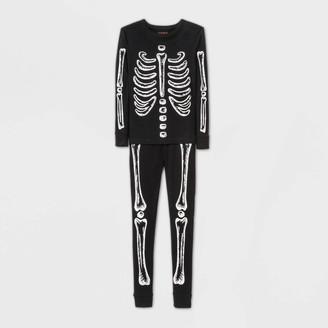 Cat & Jack Boys' 2pc Skeleton Glow In The Dark Tight Fit Pajama Set - Cat & JackͲ