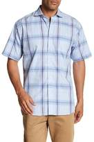 Thomas Dean Windowpane Short Sleeve Regular Fit Shirt