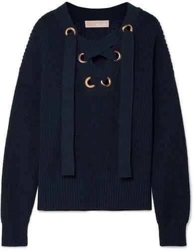 MICHAEL Michael Kors Lace-up Cotton-blend Sweater
