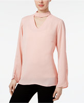 NY Collection Bell Sleeve Choker Blouse