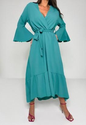 Missguided Mint Frill Sleeve High Low Midi Dress