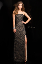 Scala 48705 Strapless Beaded Prom Dress with Side Slit