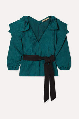 Hellessy Ocean Drive Grosgrain-trimmed Cotton-blend Cloque Top - Teal