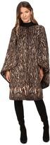 Alberta Ferretti Leopard Cape Sleeve Open Front Jacket Women's Coat