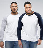 French Connection PLUS 2 Pack Contrast Raglan Long Sleeve T-Shirt