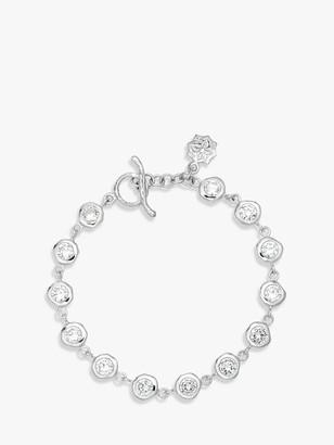 Dower & Hall Sterling Silver White Topaz Dewdrop Line Bracelet, Silver