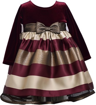 Bonnie Jean Baby Girl Long Sleeve Stretch Velvet and Taffeta Stripe Empire with Band and Bow