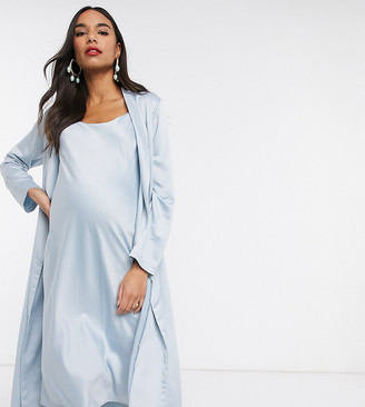 Queen Bee Maternity Baby Shower ruched cami midi dress and drape jacket set in blue