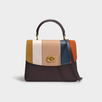 Coach Parker Patchwork Stripe Top Handle Bag In Multicoloured Leather