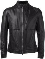 HUGO BOSS round collar biker jacket - men - Lamb Skin/Polyester - 48