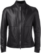HUGO BOSS round collar biker jacket - men - Lamb Skin/Polyester - 50