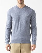 Lacoste Blue and White Two-Tone Round-Neck Jumper