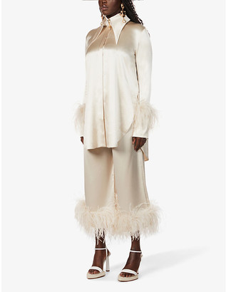 16Arlington Seymour feather-trimmed satin shirt dress