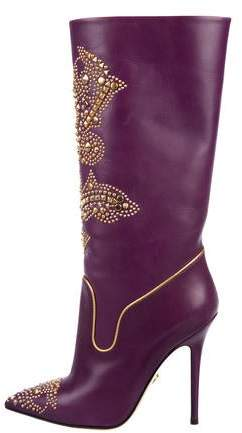 Versace Studded Leather Boots