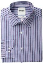 Ben Sherman Men's Red and Blue Slub Bar Striped Oxford Shirt