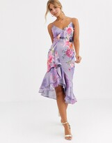 Lipsy fit and flare midi dress in purple floral print