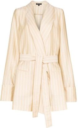 Ann Demeulemeester Striped Belted Blazer