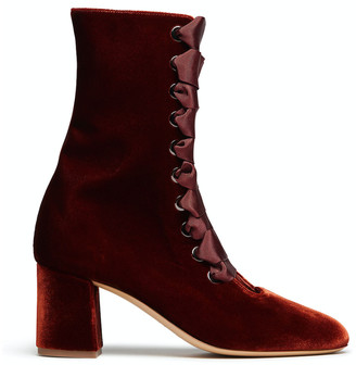 Le Monde Beryl Rust Velvet Lace-up Ankle Boot