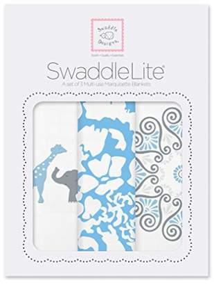 Swaddle Designs Marquisette Swaddle Blankets, Premium Cotton Muslin, SwaddleLite Set of 3, Blue Lush
