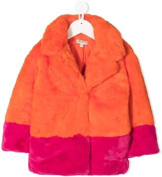 Kenzo Kids Colour Block Faux Fur Coat