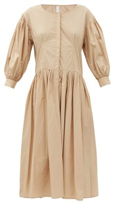 Merlette New York Montague Balloon-sleeve Cotton-poplin Midi Dress - Beige