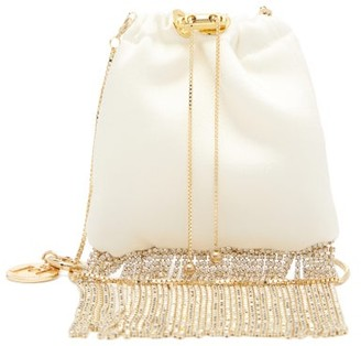 Rosantica Fatalina Crystal-fringed Satin Pouch - Womens - White Multi