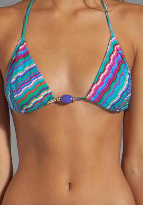 Shoshanna Bialik Print Beaded Triangle Bikini Top