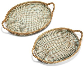 Seagrass Oblong Tray With Handles 2-Piece Set