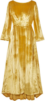 Adam Lippes Metallic Silk-velvet Maxi Dress